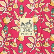 100% Auth Hermes Silk Mens Tie Teapots & Lanterns Pattern Nr No. 7536 Photo