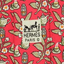 100% Auth Hermes Tie Silk Mens Teapots & Lanterns Pattern 7536 Photo