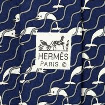 100% Auth Hermes Tie Silk Mens Whimsical Dolphins Waves Pattern 987 Photo
