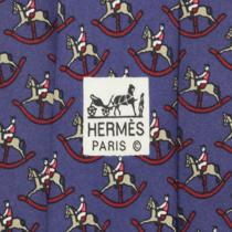 100% Auth Hermes Tie Silk Mens Whimsical Rocking Horses Pattern 7373 Photo