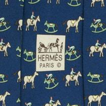 100% Auth Hermes Tie Silk Mens Xl Whimsical Rocking Horses Pattern 5313 Photo