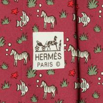 100% Auth Hermes Tie Silk Necktie Mens Whimsical Zebras & Fish Pattern 7852 Photo