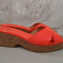 100%Auth Jimmy Choo Panna Neon Flame Leat Wedge Cork Sandals Shoes eu39.59or9.5 Photo
