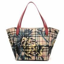 100% Auth New Burberry Canterbury Haymarket Check Flower Tote Bag/handbag/purse Photo