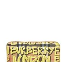 100% Auth New Burberry Elmore Graffiti Yellow Check Continental Wallet/clutch Photo