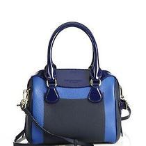 100% Auth New Burberry Mini Bee Blue Color Block Pebbled & Patent Bag/handbag Photo