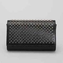 100% Auth New Christian Louboutin Paloma Jurassic Spike Black Clutch Bag/wallet Photo
