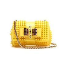 100% Auth New Christian Louboutin Yellow Sweety Charity Stud Bag/handbag/purse Photo