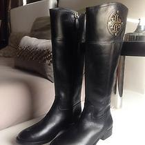100% Auth New Tory Burch Kiernan Flat Tall Riding Leather Black Boots Size 7 Photo