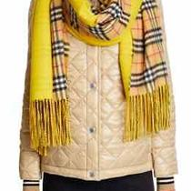 100% Auth New Women Burberry Color Block Vintage Yellow Check Cashmere Scarf  Photo