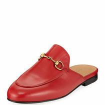 100% Auth New Women Gucci Kings Princetown Red Leather Mule Slippers Us 11 D Photo