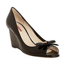100% Auth New Women Prada Black Scamasco Patent Bow Wedge/espadrille Sandal Us 9 Photo