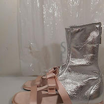 100%Auth Prada Orchidea Pink Satin/silv Metallic Leather Gladitor Shoes Eu40us9 Photo