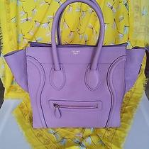 100% Auth. Rarest Celine Lilac Drummed Leather Mini Luggage Shopper Tote Bag Nm Photo