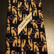 100% Auth Salvatore Ferragamo Silk Tie Navy W Seated Kanine Pattern Photo