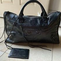 100% Authentic Balenciaga Large Black Leather Motorcycle City Bag Purse Nr Photo