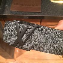 100% Authentic Black Checker Louis Vuitton Damier Graphite Belt Photo