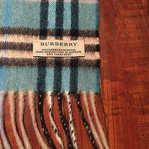 100% Authentic Burberry Cashmere/wool Women's Check Blue Scarf  -  60