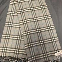 100% Authentic Cashmere Burberry Scarf Grey/ Blue Pattern Photo