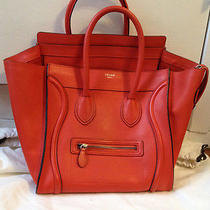 100% Authentic Celine Fluo Orange Drummed Mini Luggage Tote Bag Photo