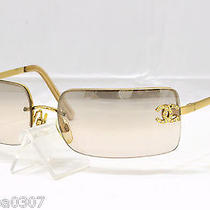 100% Authentic Chanel 4104-B Coco Cc Mark Rhinestone Sunglasses Brown Gold Photo