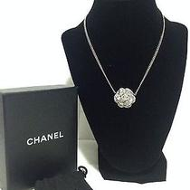 100% Authentic Chanel Camilia Flower Necklace Silver Hardware Photo