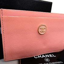 100% Authentic Chanel Caviar Coco Logo Pink Leather Card Pass Case (2001) Photo