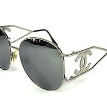 100% Authentic Chanel Cc Coco Logo Sunglasses Silver/black (2233) Photo