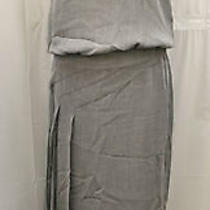 100% Authentic Chanel Coco Cc Mark Sleeveless Long One-Piece Dress Gray Photo