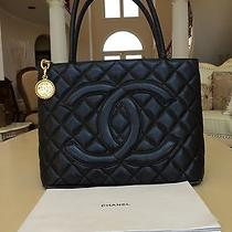100% Authentic Chanel Medallion Tote Bag Purse Caviar Gold Hardware Classic Flap Photo