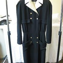 100% Authentic Chanel Vintage Dress W/ Gold Coco Chanel Head Buttons 100% Wool Photo