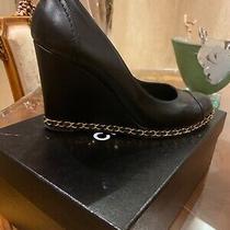 100% Authentic Chanel Wedges Espadrilles Shoes Pumps Sz 40.0 Usa Sz 10.0 Photo