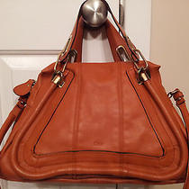 100% Authentic Chloe Medium Paraty Bag Tote  in Mahogany Leather  (Mint)  Photo