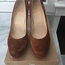 100% Authentic Christian Louboutin New Simple Pump 100 ( Suede Tan) Size 37.5 Photo