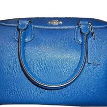 100% Authentic Coach  Bennett Satchel Crossbody Blue Leather Bag Purse Luxury Photo