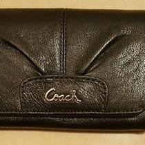 100% Authentic Coach Black Leather Wallet With Coin Purse Nwot Free Shipping Photo