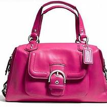 100% Authentic Coach Fuchsia Campbell Leather Satchel  Photo