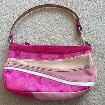 100% Authentic Coach Leather/fabric Pink & Gold Handbag Purse - Unique & Rare Photo