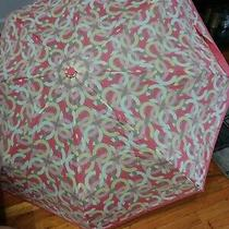 100% Authentic Coach Umbrella in Signature Ivory/rouge /pink New Photo