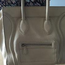 100% Authentic Drummed Leather Cream Celine Mini Luggage Shopper Handbag Photo