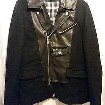 100% Authentic Dsquared2  Lamb Leather/cashmere/wool Jacket Size 50/40 S/m Black Photo