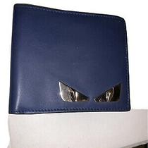 100% Authentic Fendi Bag Bugs Leather Billfold Wallet Navy Blue Photo