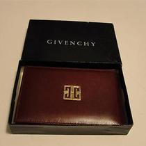 100% Authentic Givenchy Pocket/wallet Designer Mirror Leather Burgundy W/ Flaws Photo