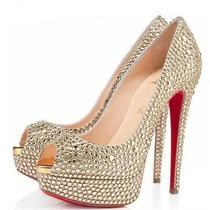 100% Authentic Gold Lady Peep Strass Swarovski Crystal Sandal Sz 38 Photo