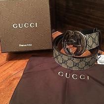 100% Authentic Gucci Belt Beige Blue Monogram 32-34 95cm Photo