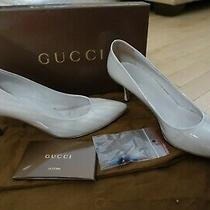 100% Authentic Gucci Light Gravel Patent Pump Heels Size 38 / 8 Shoes White/gray Photo