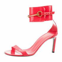100% Authentic Gucci Ursula Patent Leather Horsebit Sandal Heels Pink Size 40 Photo