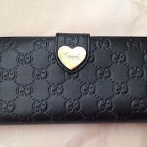 100% Authentic Gucci Wallet Black Gg Leather W/ Gold Heart Photo