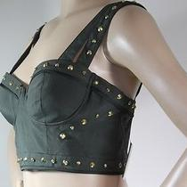 100% Authentic Guess  Womens Posy Cropped Studs/silk7 Satin Corset Top Sz 10 Photo