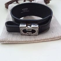 100% Authentic Hermes Black Leather Touareg Bracelet Sz M Photo
